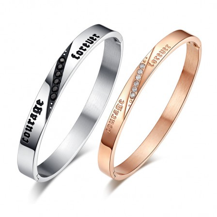 New Arrivals Fashion Titanium Steel Inlaid Cubic Zirconia Lovers Bracelets