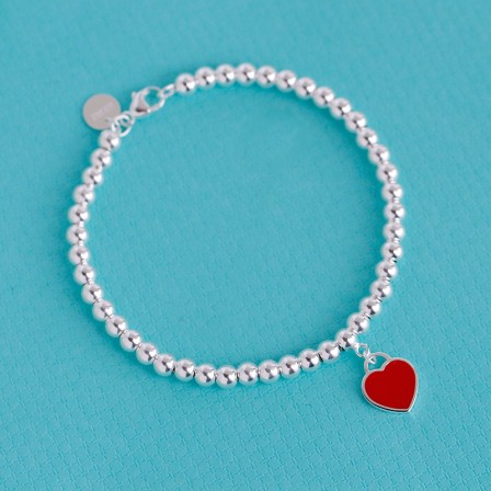Charming Stylish S925 Sterling Silver Bracelet with Red Heart