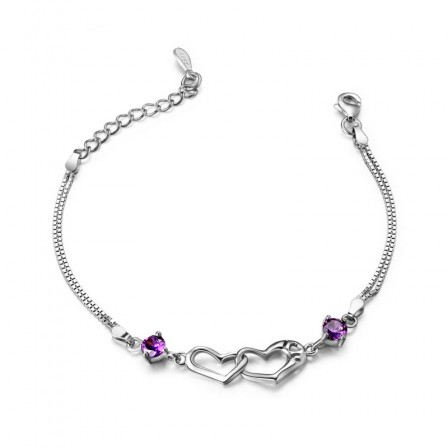 Sweet Love Hollow Heart-Shaped S925 Sterling Silver Inlaid Cubic Zirconia Bracelet