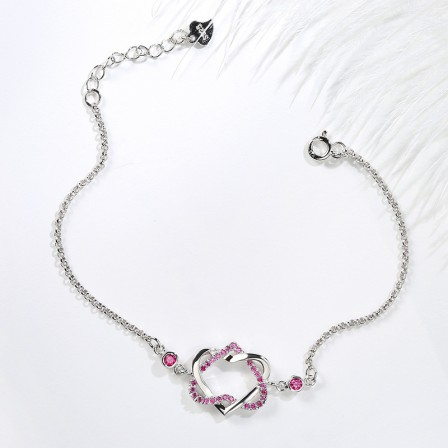 Original Design Sweet Heart-Shaped S925 Sterling Silver Inlaid Cubic Zirconia Bracelet Exquisite Valentine's Day Gift