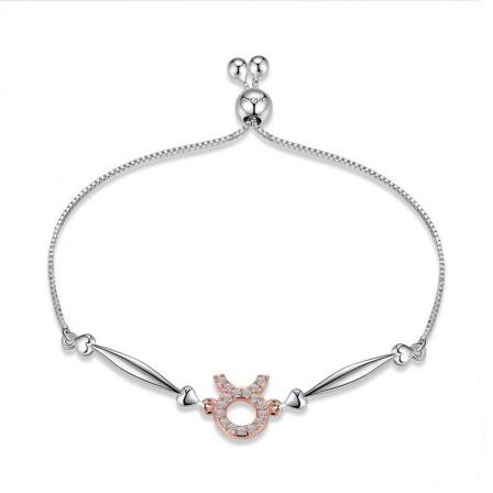 Hot Selling Twelve Constellation Taurus Style S925 Sterling Silver Inlaid Cubic Zirconia Bracelet