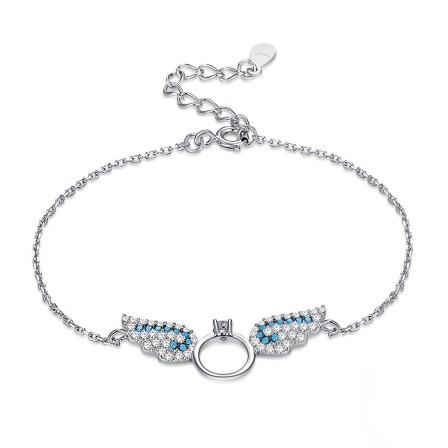 Original Design Elegant Angel's Wings S925 Sterling Silver Inlaid Cubic Zirconia Bracelet