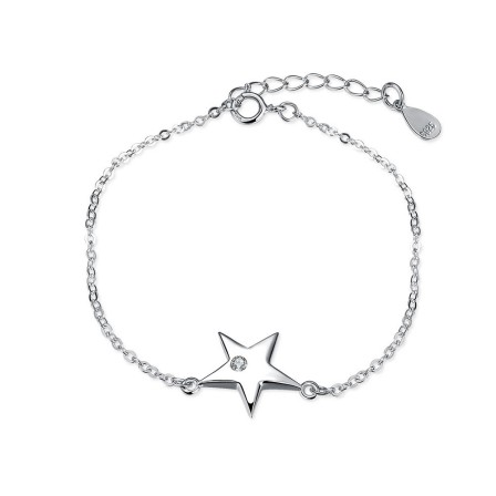 Original Design Star-Shaped S925 Sterling Silver Inlaid Cubic Zirconia Bracelet