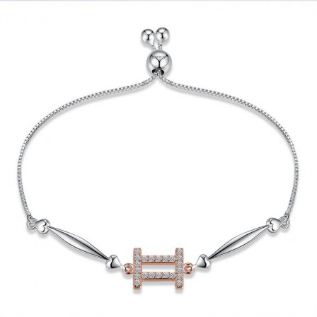 Hot Selling Twelve Constellation Gemini Style S925 Sterling Silver Inlaid Cubic Zirconia Bracelet