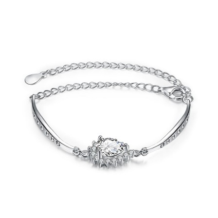 Charming Stylish S925 Sterling Silver Inlaid Cubic Zirconia Bracelet