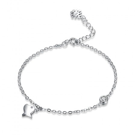 New Arrivals Fish Style S925 Sterling Silver Inlaid Cubic Zirconia Bracelet