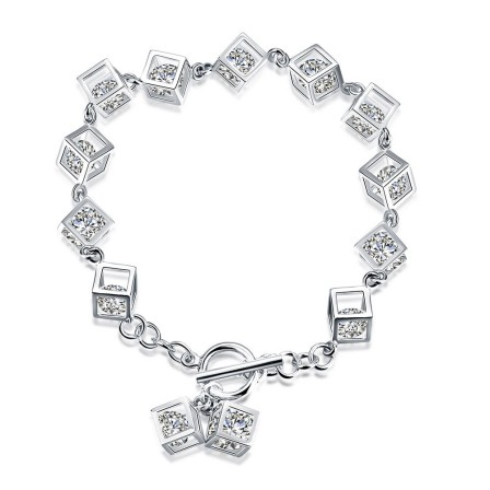 Fashion S925 Sterling Silver Inlaid Cubic Zirconia Bracelet