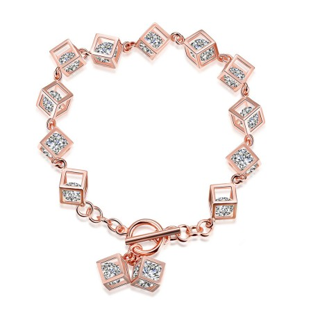 Charming S925 Sterling Silver Inlaid Cubic Zirconia Rose Gold Bracelet