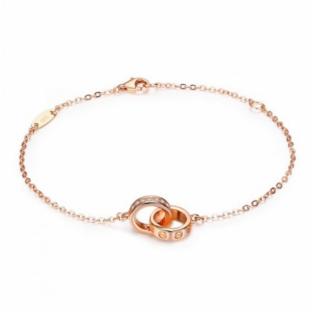 Infinite Love S925 Sterling Silver Inlaid Cubic Zirconia Plated Rose Gold Bracelets