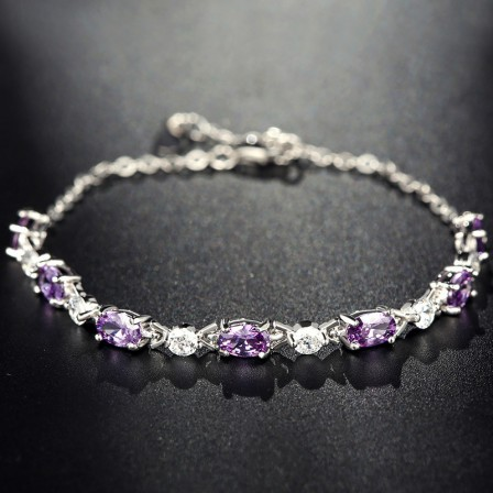 Romantic S925 Sterling Silver Inlaid Cubic Zirconia Crystal Bracelets