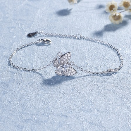 Romantic Butterfly-Shaped S925 Sterling Silver Inlaid Cubic Zirconia Bracelets
