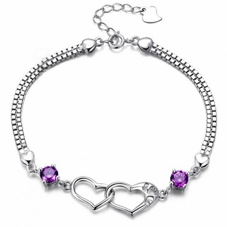 Fashion Heart-Shaped I LOVE YOU S925 Sterling Silver Inlaid Cubic Zirconia Bracelet