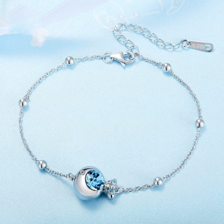 Romantic S925 Sterling Silver Inlaid Crystal Bracelet