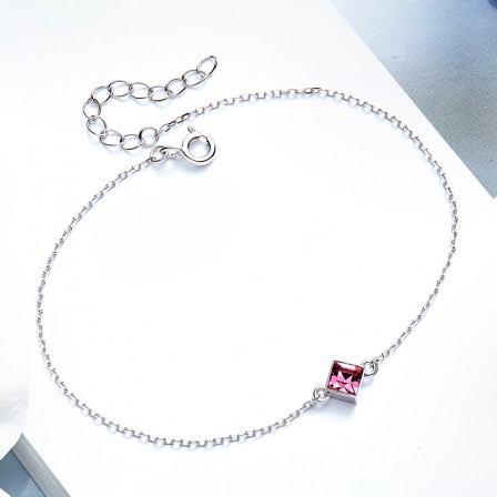 Charming S925 Sterling Silver Inlaid Crystal Bracelet
