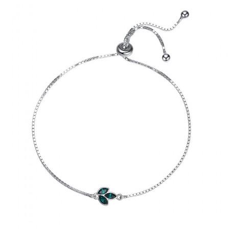 Popular Clover S925 Sterling Silver Inlaid Crystal Bracelet
