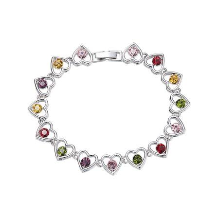 Original Design Heart-Shaped S925 Sterling Silver Inlaid Crystal Bracelet
