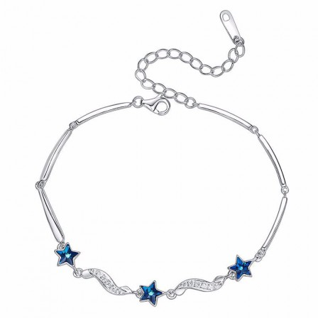 New Arrivals S925 Sterling Silver Inlaid Crystal Bracelet Valentine's Day Gift