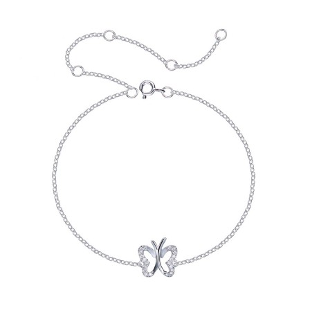 Stylish Hollow Butterfly-Shaped S925 Sterling Silver Inlaid Crystal Bracelet