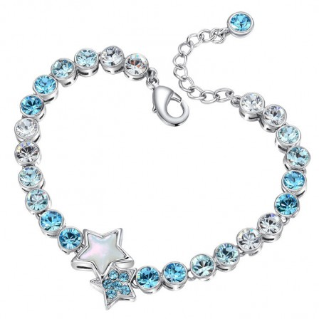 Fashion Star-Shaped S925 Sterling Silver Inlaid Crystal Bracelet