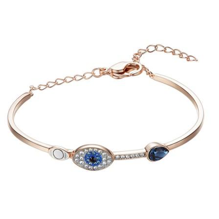 Charming Devil's Eye S925 Sterling Silver Inlaid Crystal Bracelet