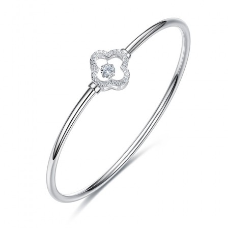 Charming Stylish Four-leaf Clover Shaped S925 Sterling Silver Inlaid Rotatable Cubic Zirconia Bracelet