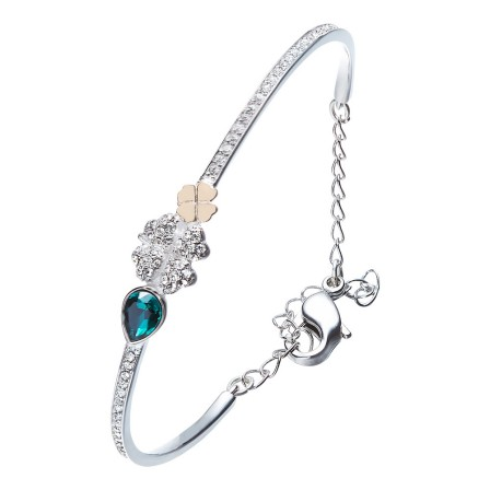 Romantic Stylish S925 Sterling Silver Inlaid Crystal Bracelet