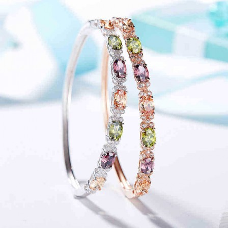 Popular Valentine's Day Gift Colorful S925 Sterling Silver Inlaid Cubic Zirconia Bracelets