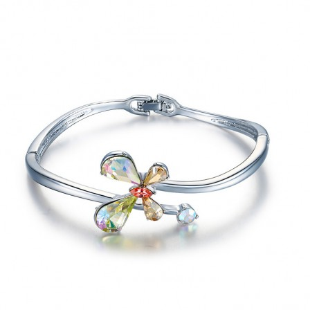 Four-leaf Clover Shaped S925 Sterling Silver Inlaid Crystal Women Bracelet
