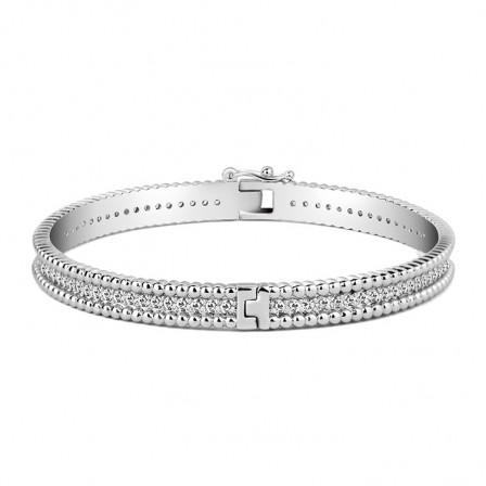 Exquisite S925 Sterling Silver Inlaid Cubic Zirconia Bracelet