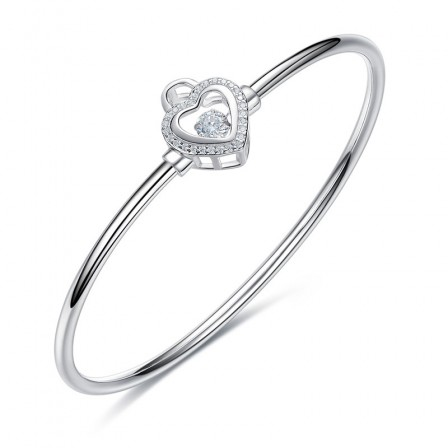 Infinite Love Hollow Heart-Shaped S925 Sterling Silver Inlaid Rotatable Cubic Zirconia Bracelet