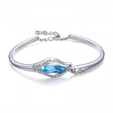 Valentine's Day Gift S925 Sterling Silver Inlaid Crystal Bracelet