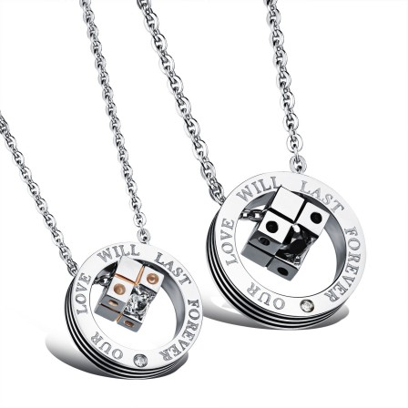Lovely 3A Zircon Titanium steel Couples Necklace Valentine'S Day Gift With Rhinestone