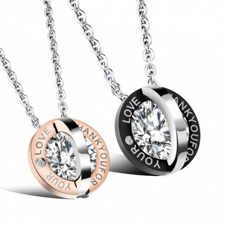 Personality Design 3A Zircon Titanium steel Couples Necklace Valentine'S Day Gift