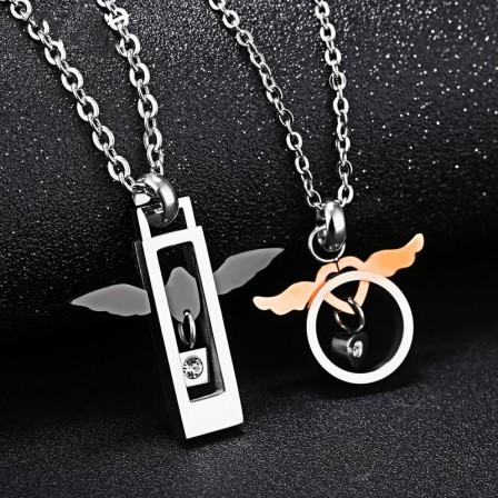 3A Zircon Titanium steel Personality Design Couples Necklace Valentine'S Day Gift