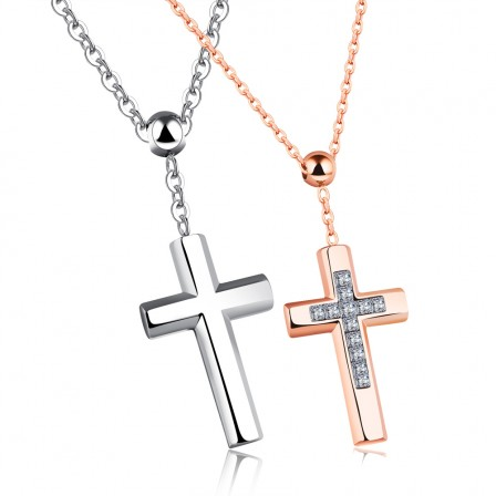Stylish 3A Zircon Titanium steel Couples Necklace Valentine'S Day Gift
