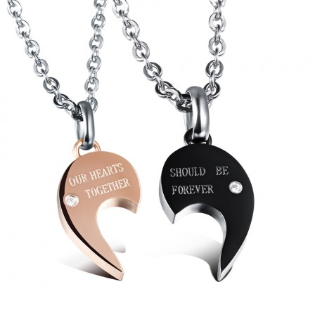 3A Zircon Stylish Titanium steel Couples Necklace Valentine'S Day Gift