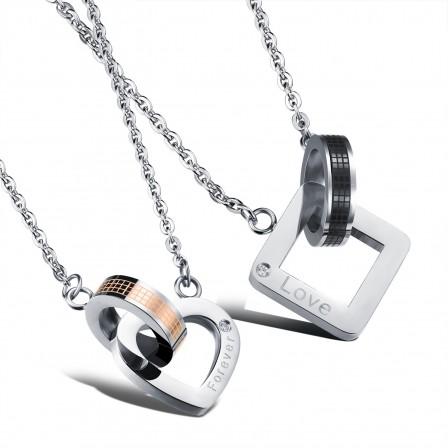 3A Zircon Titanium steel Stylish Couples Necklace Valentine'S Day Gift