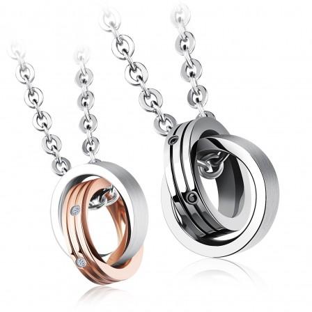 3A Zircon Titanium steel Couples Necklace Stylish Valentine'S Day Gift