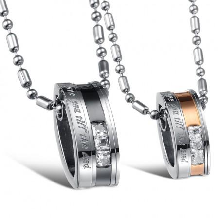 3A Zircon Titanium steel Fashion Couples Necklace Valentine'S Day Gift