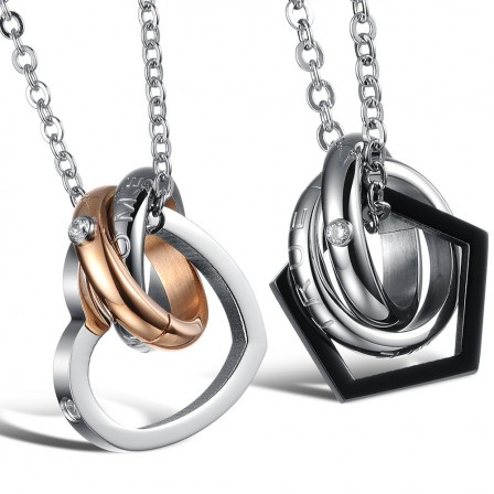 Fashion Lovers 3A Zircon Titanium steel Couples Necklace Valentine'S Day Gift