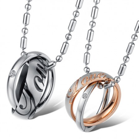 3A Zircon Titanium steel Couples Necklace Fashion Lovers Valentine'S Day Gift