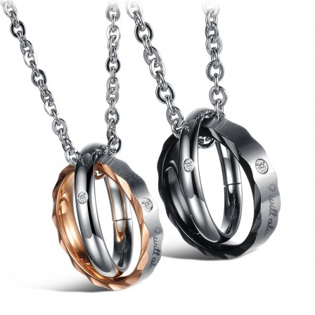 3A Zircon Titanium steel Couples Necklace Personality Valentine'S Day Gift