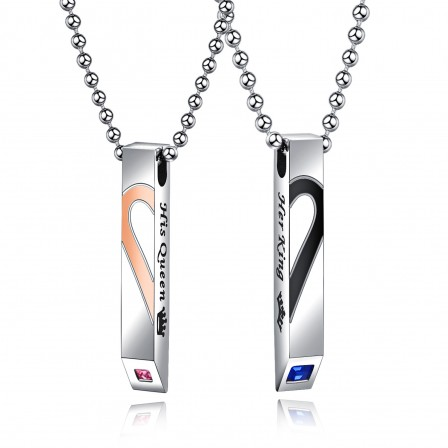 Specific Character 3A Zircon Titanium steel Couples Necklace Valentine'S Day Gift