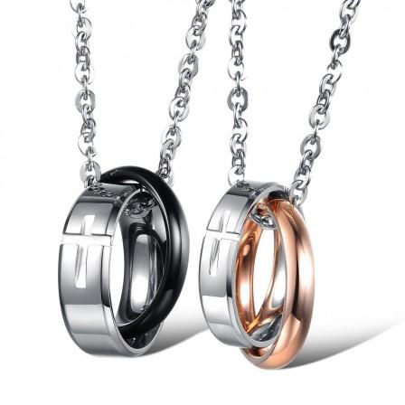 Fashion Rhinestone Titanium steel Couples Necklace Valentine'S Day Gift