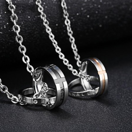 Rhinestone Titanium steel Fashion Couples Necklace Valentine'S Day Gift