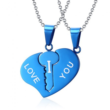 Titanium steel Multiple Color Selectable Couples Necklace Valentine'S Day Gift