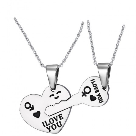 Lovers Titanium steel Couples Necklace Valentine'S Day Gift