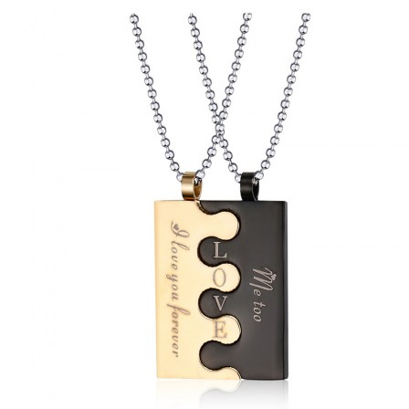 Trendy Titanium steel Couples Necklace Valentine'S Day Gift