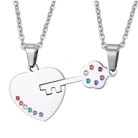Rhinestone Gays Titanium steel Couples Necklace Valentine'S Day Gift