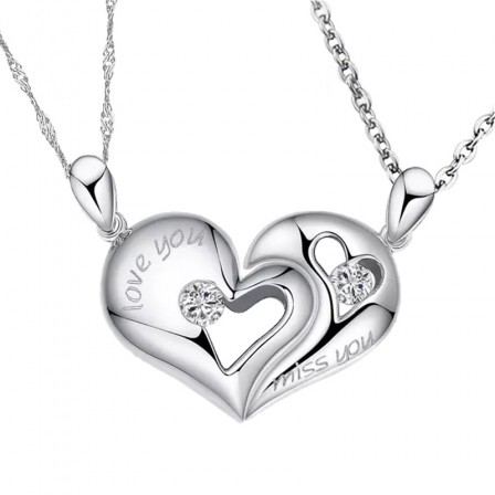 Creative Heart-Shaped Engraving Lovers Necklaces